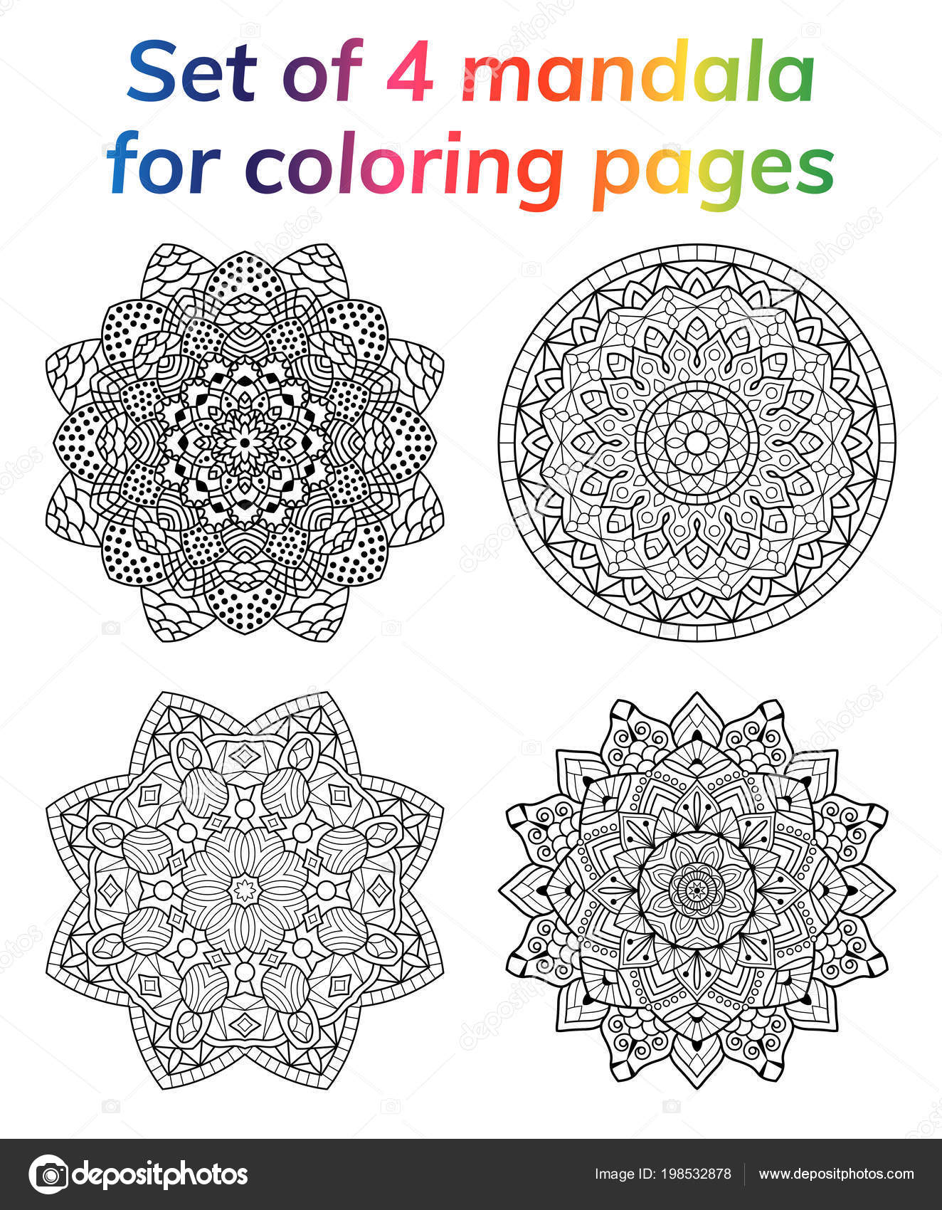 Coloring Book Pages Set Collection Mandala Indian Antistress Medallion Abstract Islamic Flower Arabic Henna Design Yoga Symbol White Background Black