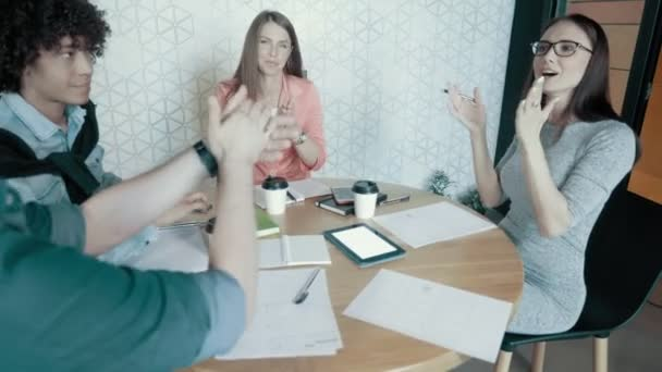 Multinational Creative Business Team Celebrating Success Of New Project Clapping In Modern Office