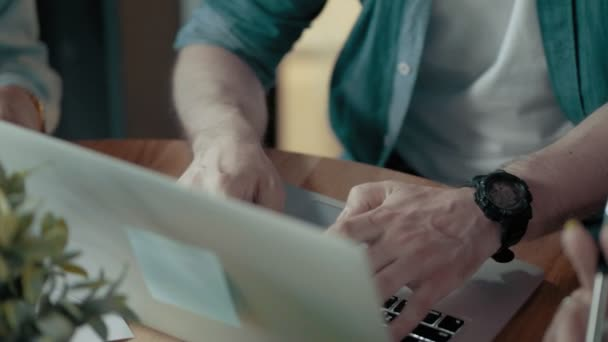 Male Programmers Hands Are Typing On Keyboard Using Laptop Creative Business Team Meeting