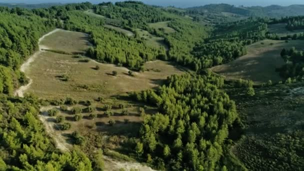 Back aerial shot flying over forest valley amazing landscape mountains and green trees