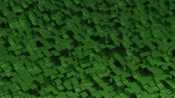 3d abstract animation green octagonal cubes shape waving background seamless looping