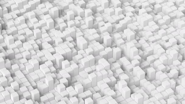 Abstrakt bílé 3D kostky animace moderní, krychlový blok mřížky s plynulým povrchem pohybující se nahoru a dolů