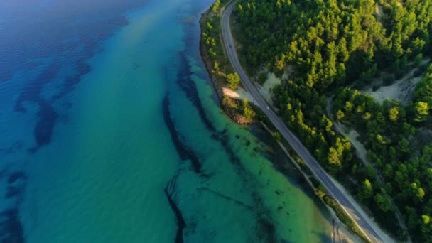 Aerial shot amazing seascape clear blue sea with small waves beautiful seashore and forest park in Greece