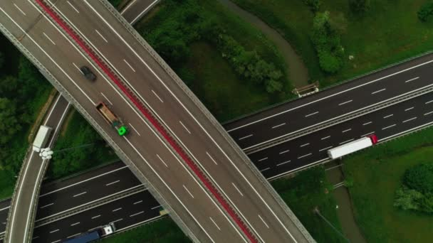 Top view multi level road junction with smooth marking asphalt static shot aerial shot
