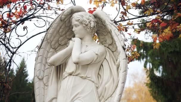 Bílý anděl na pozadí podzimní listy