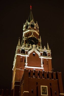 Spasskaya Tower of Moscow Kremlin at Red Square in Moscow. Closeup
