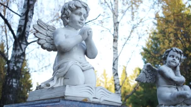 Two statues of angels on the background of birches