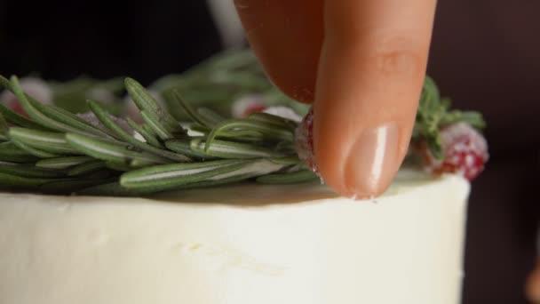 Detail ruční klade na brusinky cukru dort