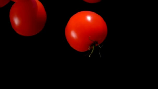 Tomatoes are falling down on on a black background