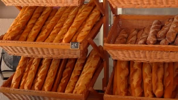 French baguette are on the counter of the store