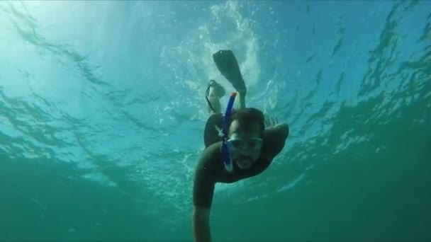 Subacqueo nuota lungo una barriera corallina