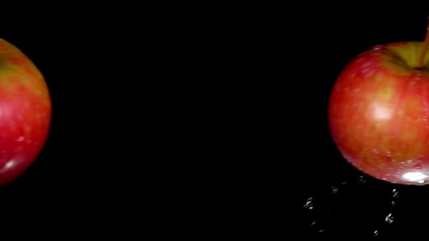 Two red apples are colliding and raising drops of water on the black background