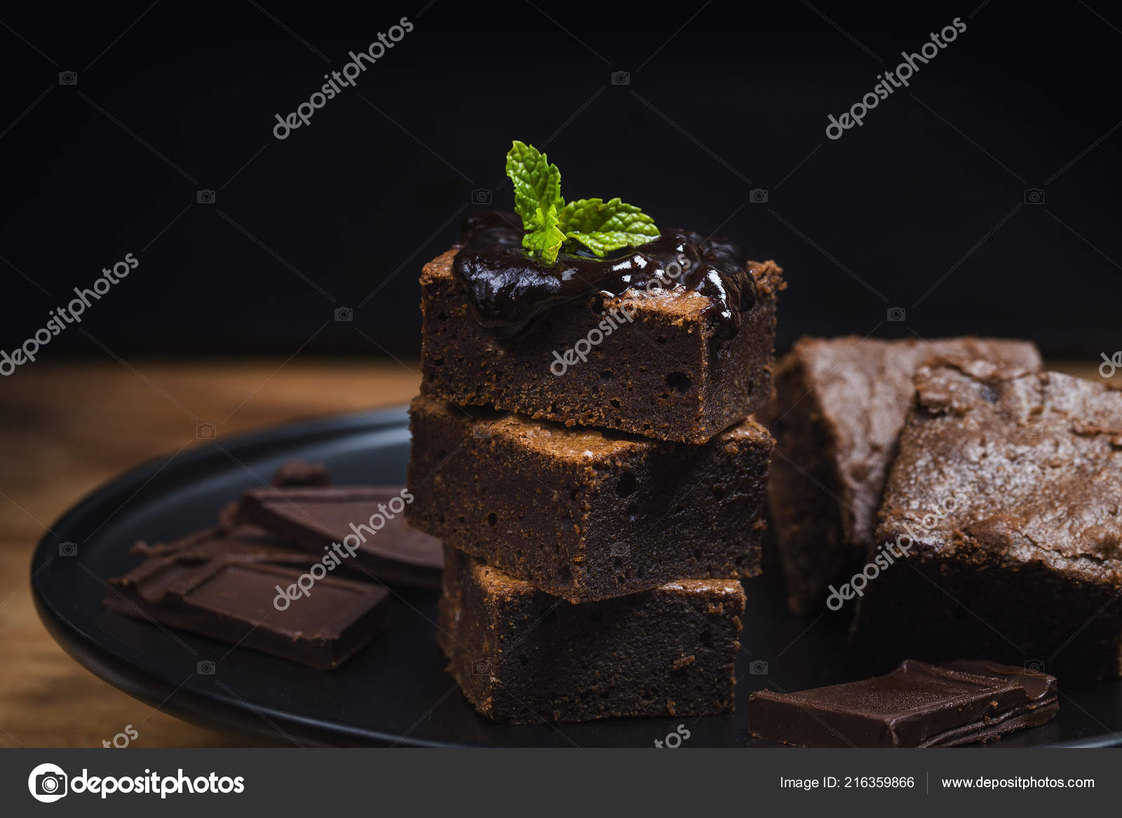 Homemade Dark Chocolate Brownies Topping Almond Slices Mint Stacked