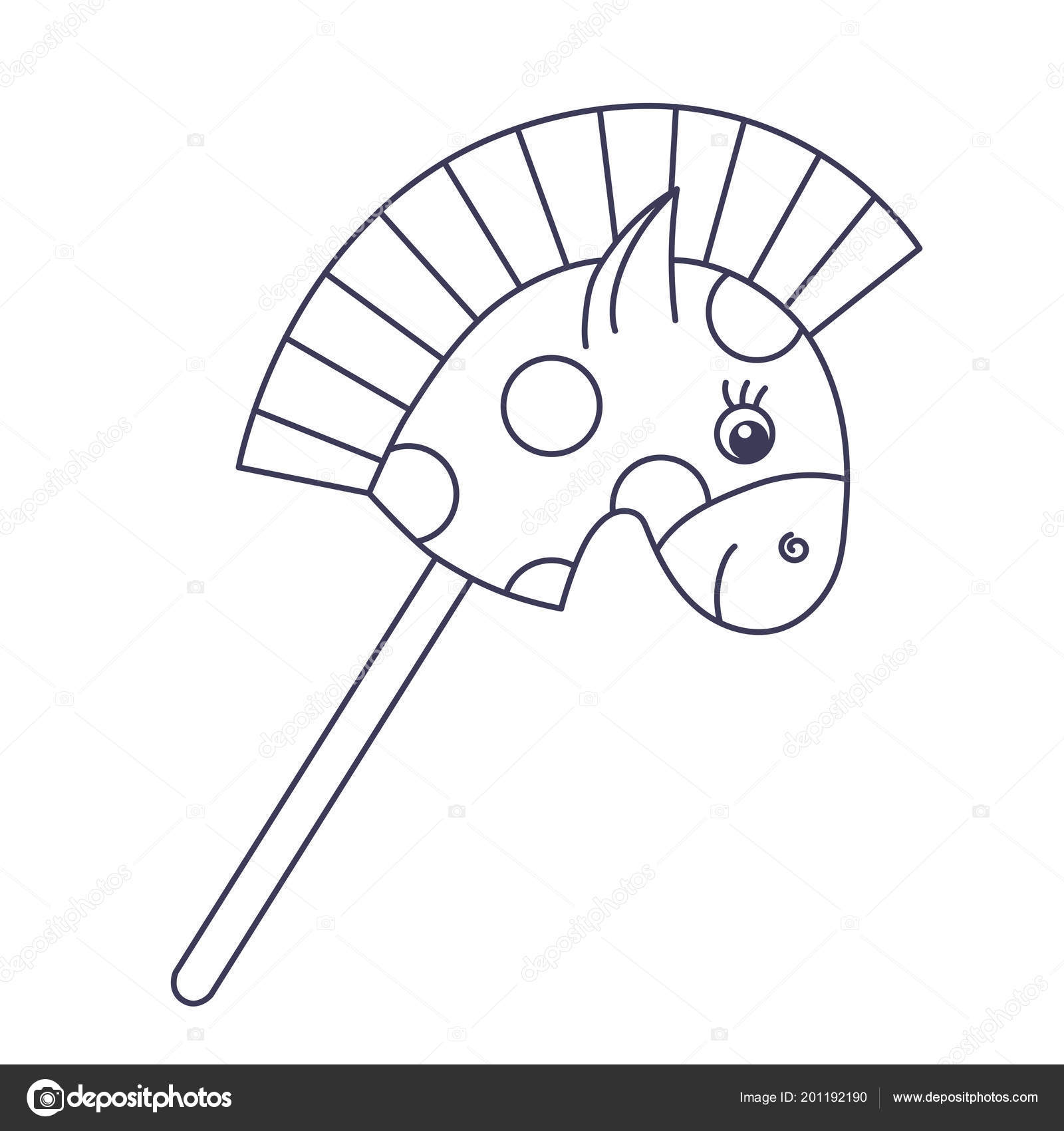 Horse Head On A Stick Horse Head Stick Line Doodle Cute Vector Toy Icon Stock Vector C Olizabet 201192190