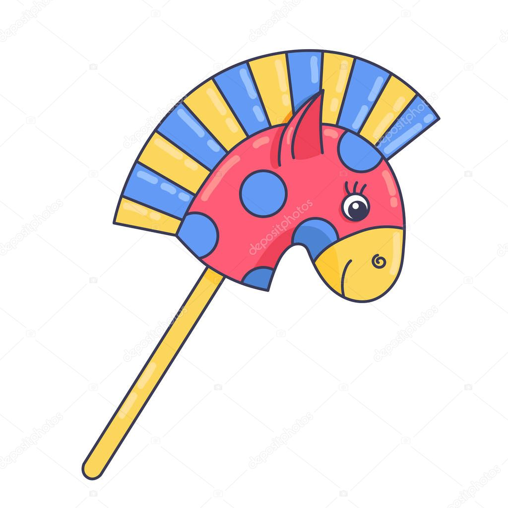 Horse On Stick Children Toy Doodle Colorful Cute Isolated Vector Illustration Premium Vector In Adobe Illustrator Ai Ai Format Encapsulated Postscript Eps Eps Format