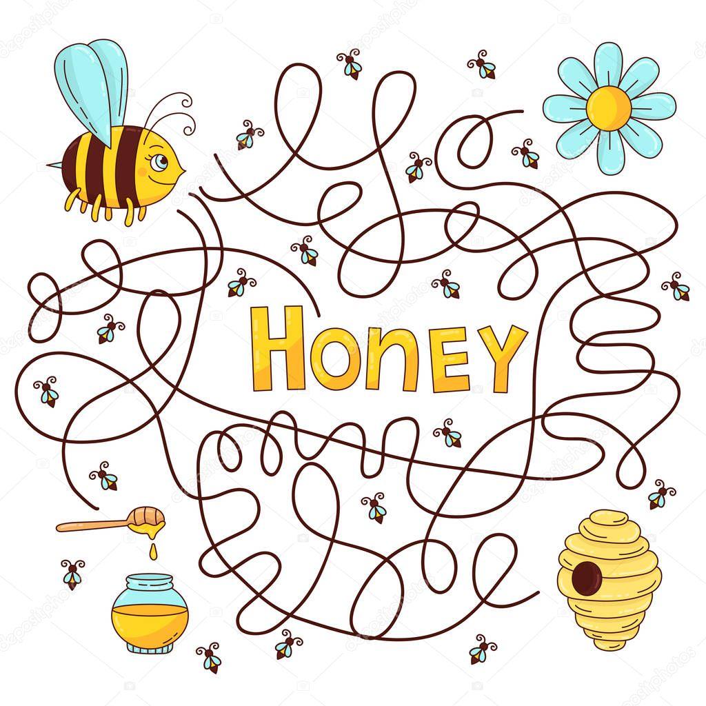 Bee honey labyrinth vector quiz