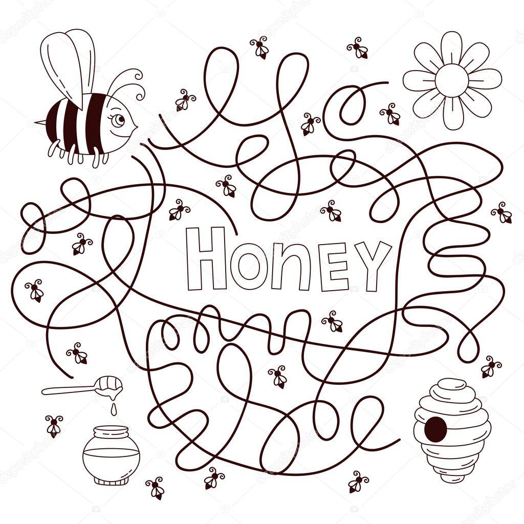Bee children quiz vector illustration