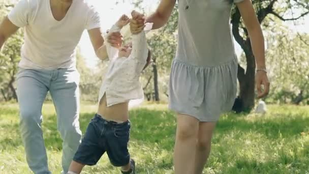 Smiling parents holding up cute son in summer park. Family have fun outdoors
