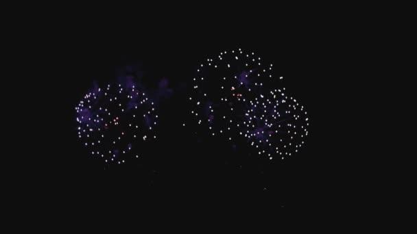 Szilveszteri ünnepi tűzijáték éjjel slo-mo