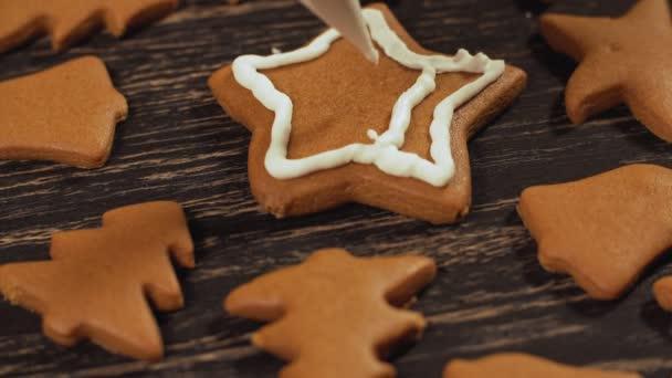 Dekoráció, karácsonyi cookie-k. Közelről díszítéshez házi mézeskalács star