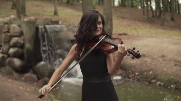 Beautiful violinist plays with inspiration. Girl playing violin in forest