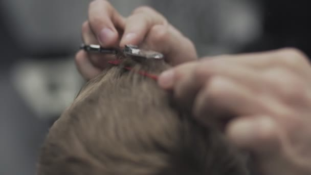 Close up of barber cuts hair in barbershop. Barber cuts hair with scissors