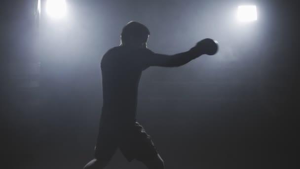 Muay thai Kämpfer Stanzen in rauchigen Studio. Kickboxer Ausbildung in Zeitlupe
