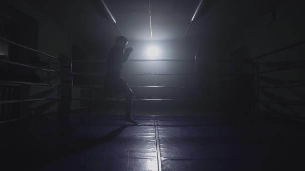 Muay thai Kämpfer Stanzen in rauchigen Ring. Silhouette auf dunklem Hintergrund