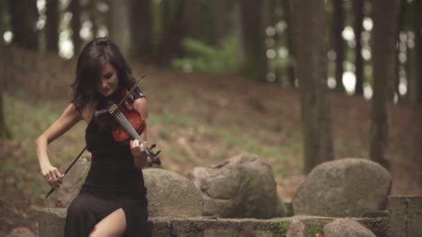 Elegantní houslista hraje s inspirací. Holka v kostýmu na housle v lese