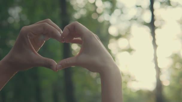 Mladý pár, takže tvar srdce s rukama při západu slunce na při západu slunce v parku