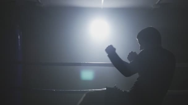 Muay thai Kämpfer trainieren in rauchigen Ring. Kickboxer boxen in rauschiger Turnhalle