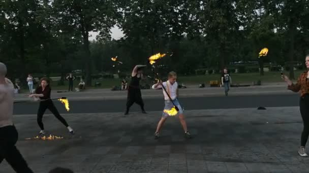 MOSCOW, RUSSIA - MAY 29, 2019: Group of artists performing fire show near VDNH.