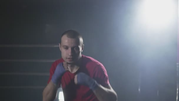 Kickboxer training in smoky gym in slow motion. Sportsman boxing in camera. Muay thai fighter punching. Silhouette on dark background
