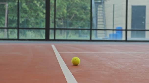 Žena, která bere tenisovou kouli z terénu. Pohled zblízka na tenisový míč.