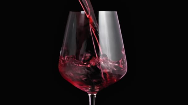 Pomalý pohyb, naliň červené víno do poháru. Zblízka na červené víno tvoří krásnou vlnu ve skle. Víno se nalévá ve skle na černém pozadí. Nízká klávesa. Cu
