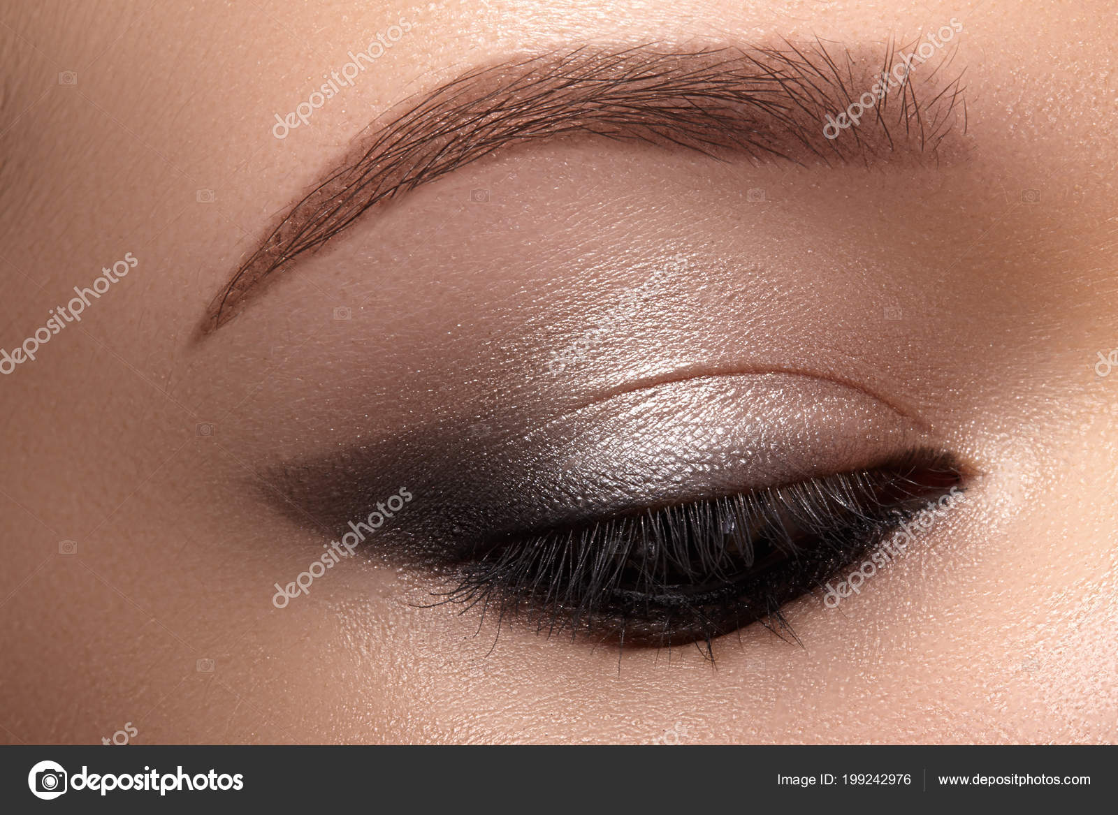 Beautiful Macro Eyes Smoky Cat Eye Makeup Cosmetics Make Closeup