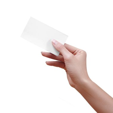 Beautiful female Hand holding paper business card on white background. Gift card, cutaway, graphic design.
