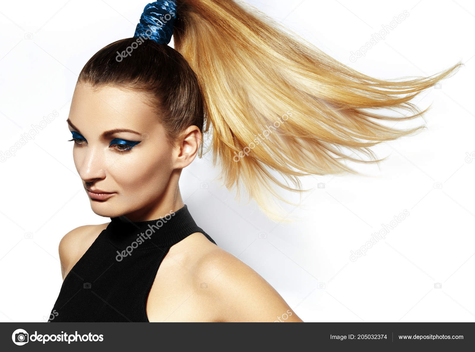 Fashion Portrait Beautiful Young Woman Ponytail Hairstyle Beauty