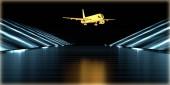 3D vykreslování zlatý objektu uvnitř futuristické silnici s tmavým pozadím