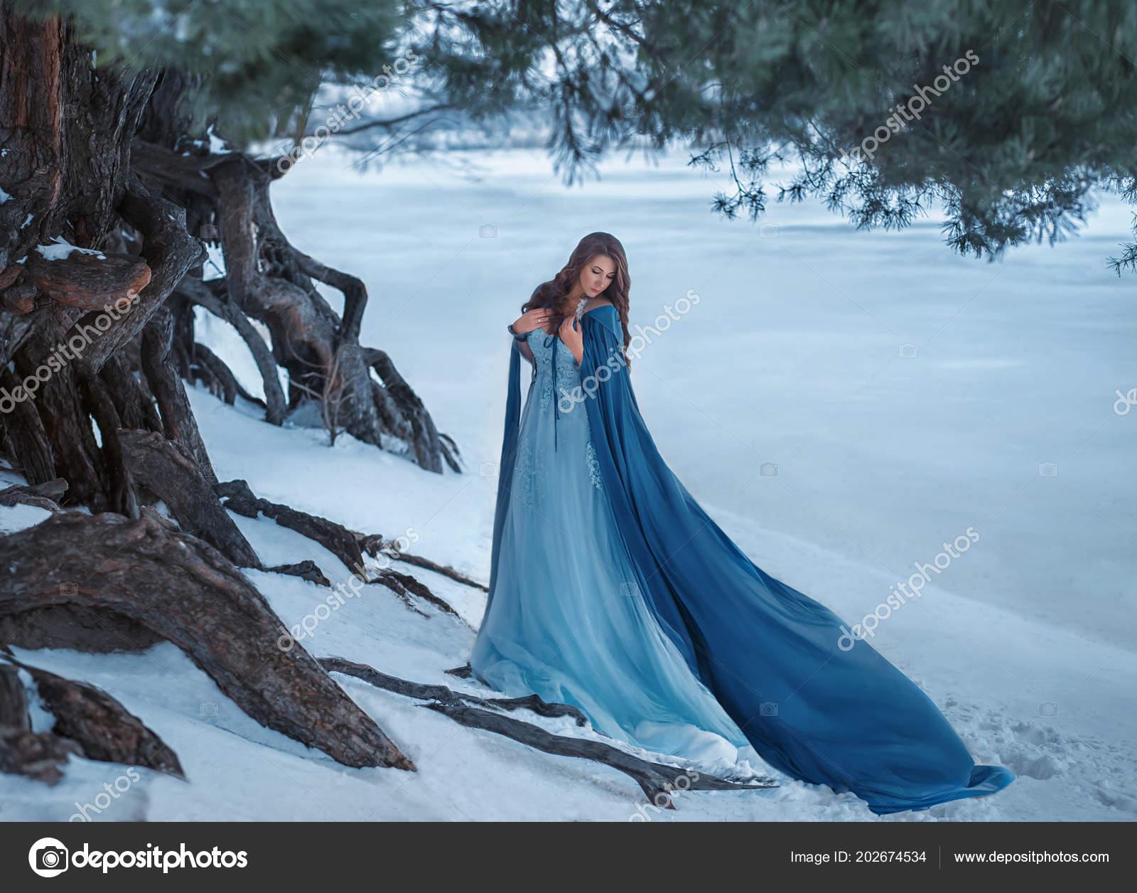 Nieuw Mysterious Wanderer Luxurious Dress Blue Cloak Flutters Wind XM-16