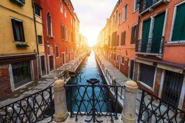 "Картина, постер, плакат, фотообои ""view of the street canal in venice, italy. colorful facades of old venice houses. venice is a popular tourist destination of europe. venice, italy."", артикул 203610278"