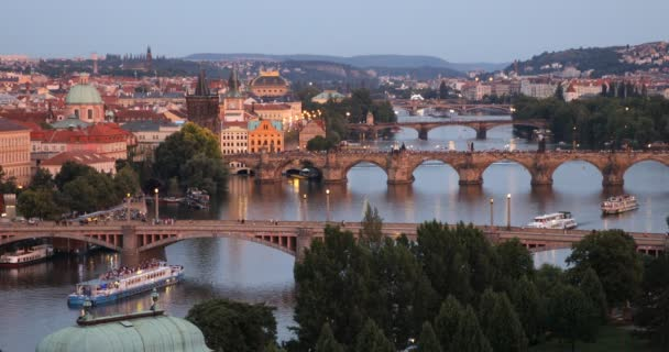 Scenic summer aerial view of the Prague Old Town pier architecture and Charles Bridge over Vltava river in Prague, Czech Republic