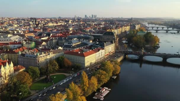 Scenic autumn aerial view of the Prague Old Town pier architecture and Charles Bridge over Vltava river in Prague, Czech Republic