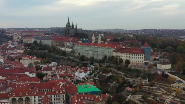 Panoramic view from above on the Prague Old Town, aerial view of the city, view from above over Prague, flight over the city, top view, Vltava River, Charles Bridge. Prague, Czechia
