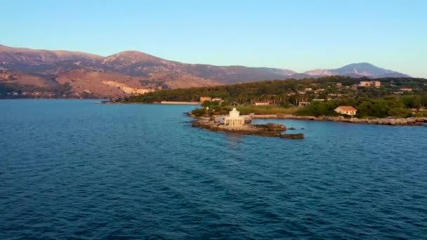 Luftaufnahme des Leuchtturms von Saint Theodore in Lassi, Argostoli, Insel Kefalonia in Griechenland. Leuchtturm Saint Theodore auf der Insel Kefalonia, Stadt Argostoli, Griechenland, Europa.