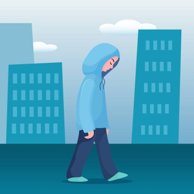 Sad, unhappy girl, woman walking slowly in city