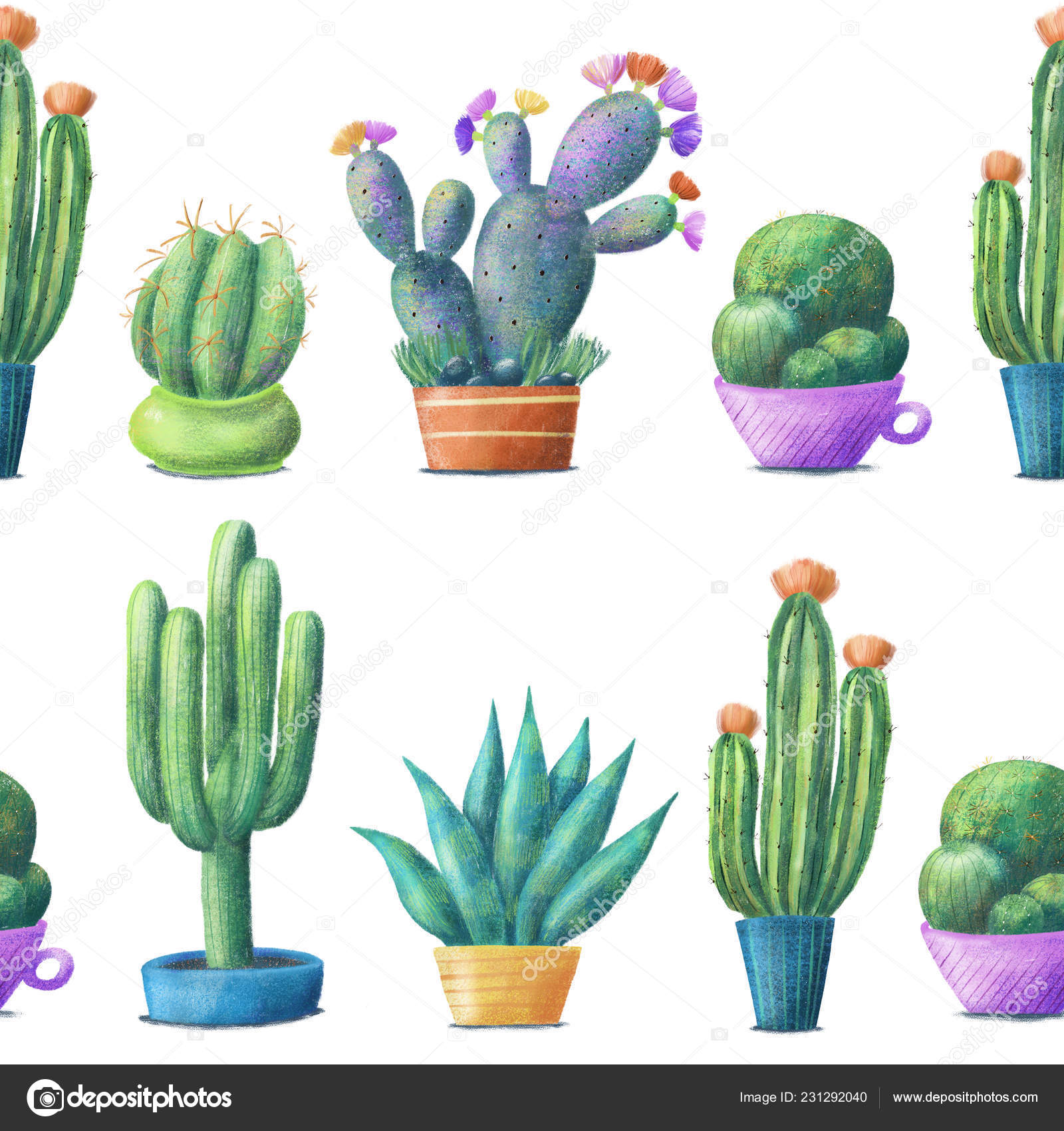 Cacti Pots In Lines Seamless Pattern On White Stock Photo