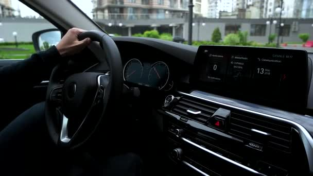 View of modern car dashboard while driving car