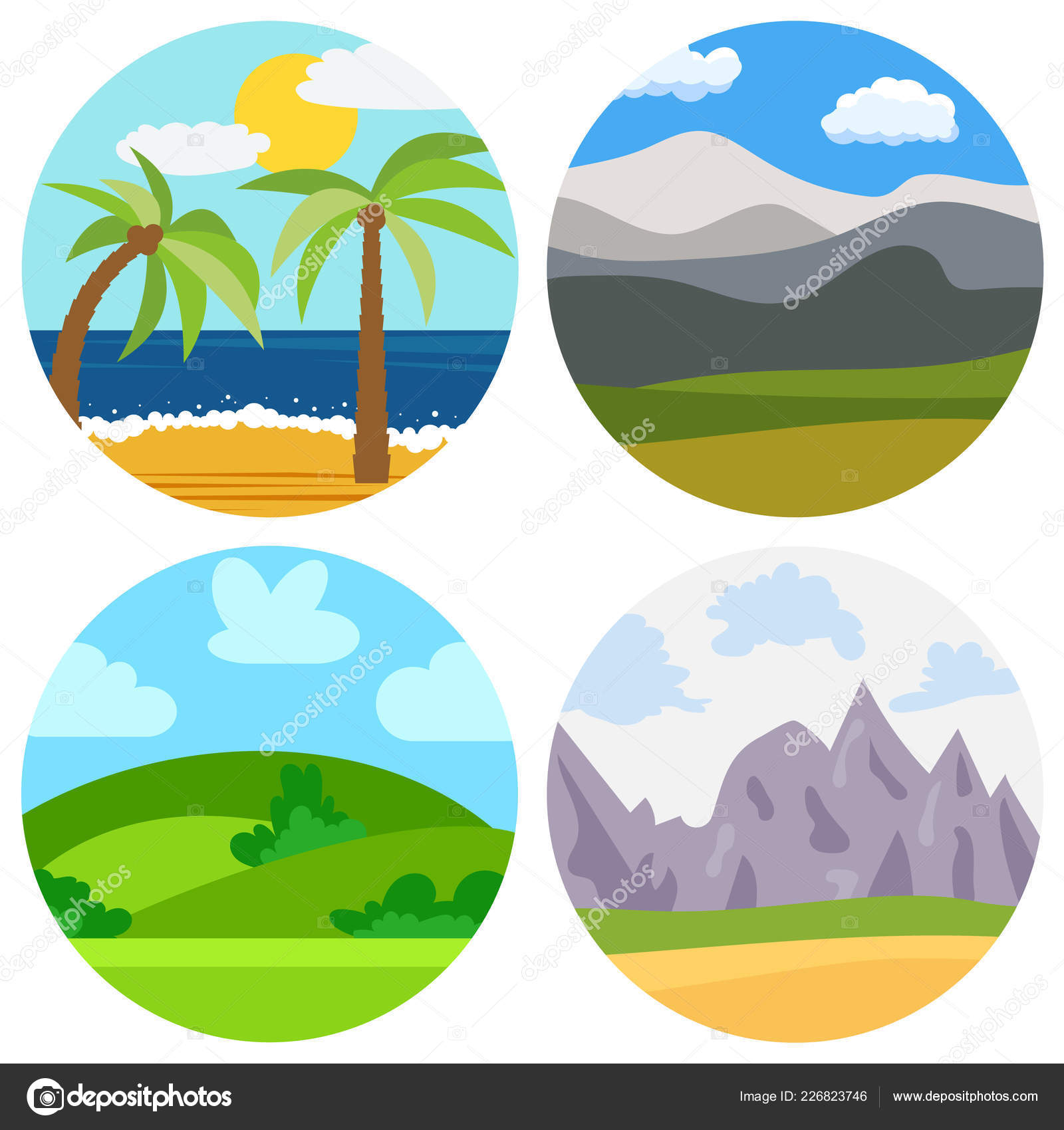 Set Of Four Natural Cartoon Landscapes Stock Vector C Dniprodd