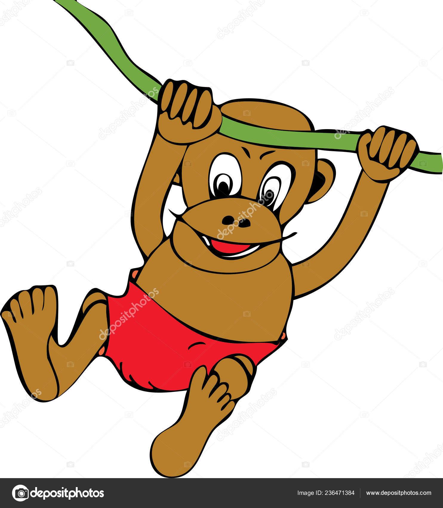 Monkey Swinging Tree Branch Stock Vector C Wicia06 Poczta